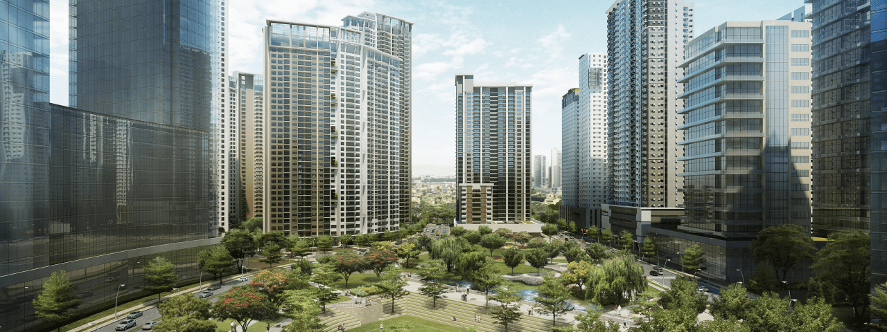 Renders of Ayala Vertis North showing buildings and a central park